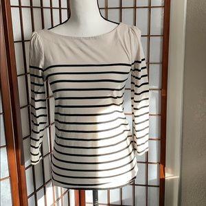 Loft striped 3/4 sleeve zip back